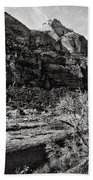 Two Peaks - Bw Beach Towel