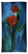 Two Red Roses Beach Towel