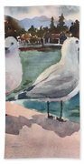 Two Seagulls By The Sea Beach Towel