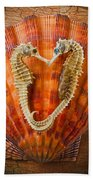 Two Seahorses On Seashell Beach Towel