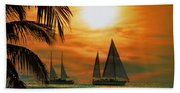 Two Ships Passing In The Night Beach Towel