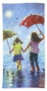 Two Sisters Rain Blond Little Sister Beach Towel