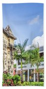 Two Solitudes, Holetown Church And Limegrove Mall, Barbados Beach Towel
