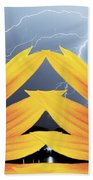 Two Sunflower Lightning Storm Beach Towel by James BO  Insogna