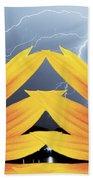 Two Sunflower Lightning Storm Beach Towel