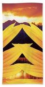 Two Sunflower Sunset Beach Towel