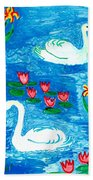Two Swans Beach Towel by Sushila Burgess