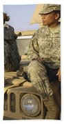 Two U.s. Army Soldiers Relax Prior Beach Towel