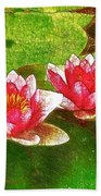 Two Waterlily Flower Beach Towel