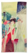 Two Women And A Man With Parrots Beach Towel