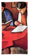 Two Women At The Table By August Macke Beach Towel