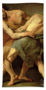 Two Wrestlers Beach Towel by Cesare Francazano