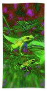 Two Yellow Frogs Beach Towel