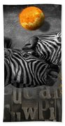 Two Zebras And Macaw Beach Towel