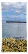 Tynemouth Piers And Lighthouses Panorama Beach Towel