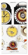 Types Of Clockfaces And Mechanism, 1809 Beach Towel