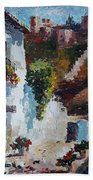 Typical Street Of Granada. Original Acrylic On Paper Beach Towel