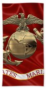 U. S.  Marine Corps - N C O Eagle Globe And Anchor Over Corps Flag Beach Towel