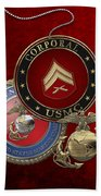 U. S.  Marines Corporal Rank Insignia Over Red Velvet Beach Towel