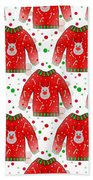 Ugly Christmas Sweater Pattern Beach Towel