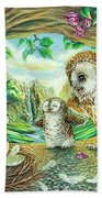 Ugly Duckling - Dragon Baby And Owls Beach Sheet