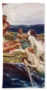 Ulysses And The Sirens Beach Towel by Herbert James Draper
