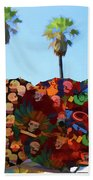 Umbrellas Day Of The Dead Paint  Beach Towel