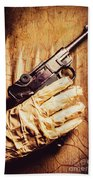 Undead Mummy  Holding Handgun Against Wooden Wall Beach Sheet