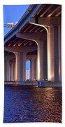 Under The Bridge With Lights 01175 Beach Towel