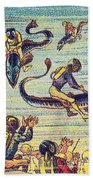 Underwater Race, 1900s French Postcard Beach Towel