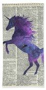 Unicorn In Space Beach Towel