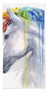 Unicorn Rainbow Watercolor Beach Towel by Olga Shvartsur
