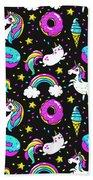Unicorns Whimsical Pattern Beach Towel