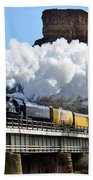 Union Pacific Steam Engine 844 And Castle Rock Beach Towel