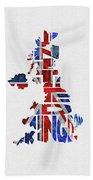 United Kingdom Typographic Kingdom Beach Towel