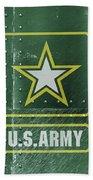 United States Army Logo On Green Steel Tank Beach Towel
