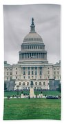 United States Capitol Building On A Foggy Day Beach Towel