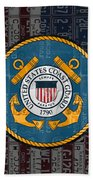 United States Coast Guard Logo Recycled Vintage License Plate Art Beach Towel