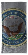 United States Navy Logo On Riveted Steel Boat Side Beach Sheet