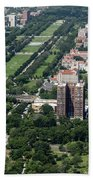 University Of Chicago Booth School Of Business And Midway Plaisance Park Aerial Photo Beach Towel