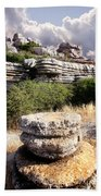 Unusual Rock Formations In The El Torcal Mountains Near Antequera Spain Beach Towel