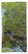Upper And Middle Falls At Mine Kill State Park Beach Towel