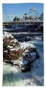 Upper Falls Winter - Spokane Beach Towel