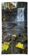 Upper North Falls In Autumn Beach Towel