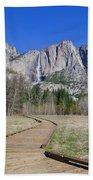 Upper Yosemite Fall And The Trail Beach Towel