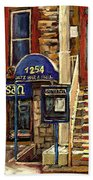 Upstairs Jazz Bar And Grill Montreal Beach Towel by Carole Spandau