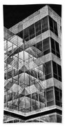 Urban Abstract - Mirrored High-rise Building In Black And White Beach Towel
