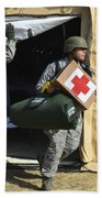 U.s. Air Force Soldier Exits A Medical Beach Towel