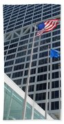 Us Bank With Flags Beach Towel