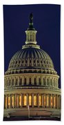 U.s. Capitol At Night Beach Towel